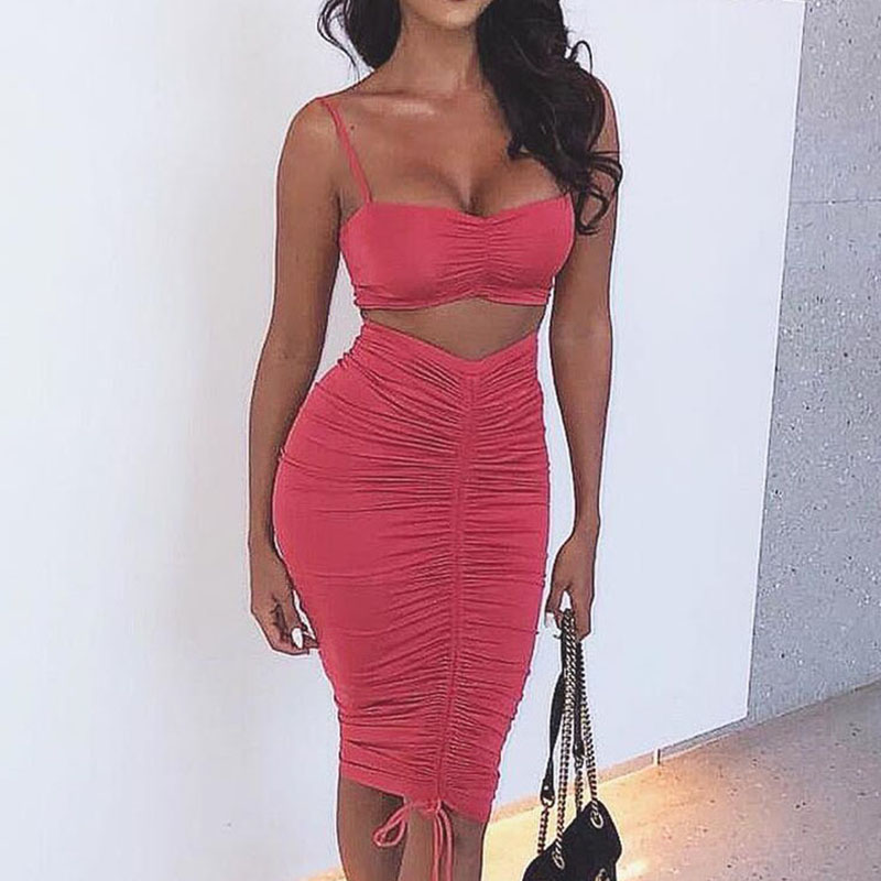 2019 Spring Women Sets Party Female Solid 2 pieces Sets Crop Top and Pleated Skirt Bandage Suit Sexy Clubwear Strapless M0447