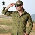 Бренд мужской Моды Верхней Оснастки длинными рукавами Свободные 100% Хлопок Плюс Размер Рубашки Охотник Военная Случайные Рубашки S ~ 3XL BA5C2