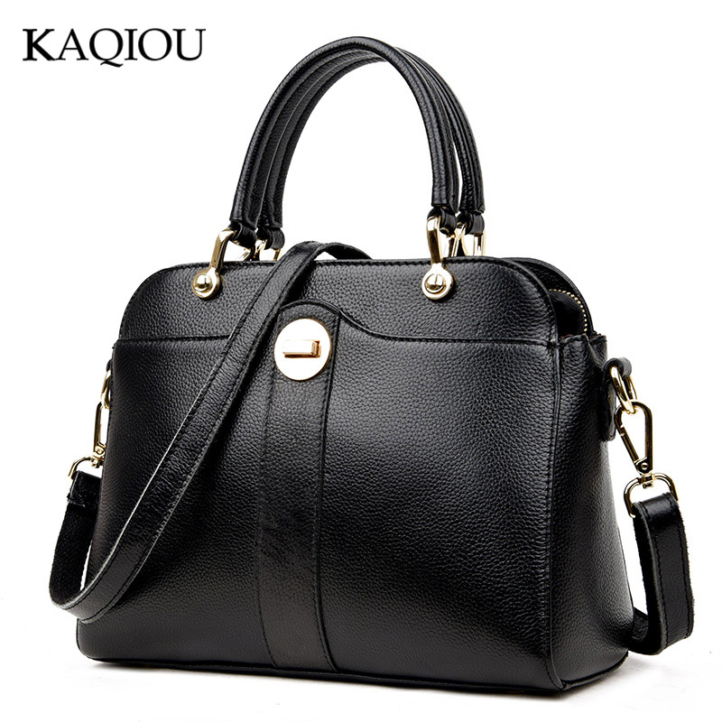 KAQIOU Women Cow Genuine Leather Handbags Trapeze Bag Fashion Ladies Famous Brand Luxury Shoulder Bags Women Messenger Bags 100% genuine leather women bags famous brand women messenger bags first layer cowhide shoulder bags women ladies handbags