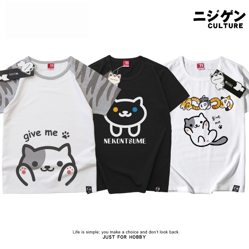 CAT animation cartoon T-shirt short-sleeved cotton r TV anime T-shirt of cultivate one's morality FOR GIRL AND BOY