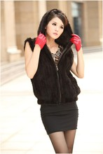 New free shipping real genuine natural Knitted Mink Fur Vest Winter Luxury Waistcoats Women's Short Jacket With a Hood