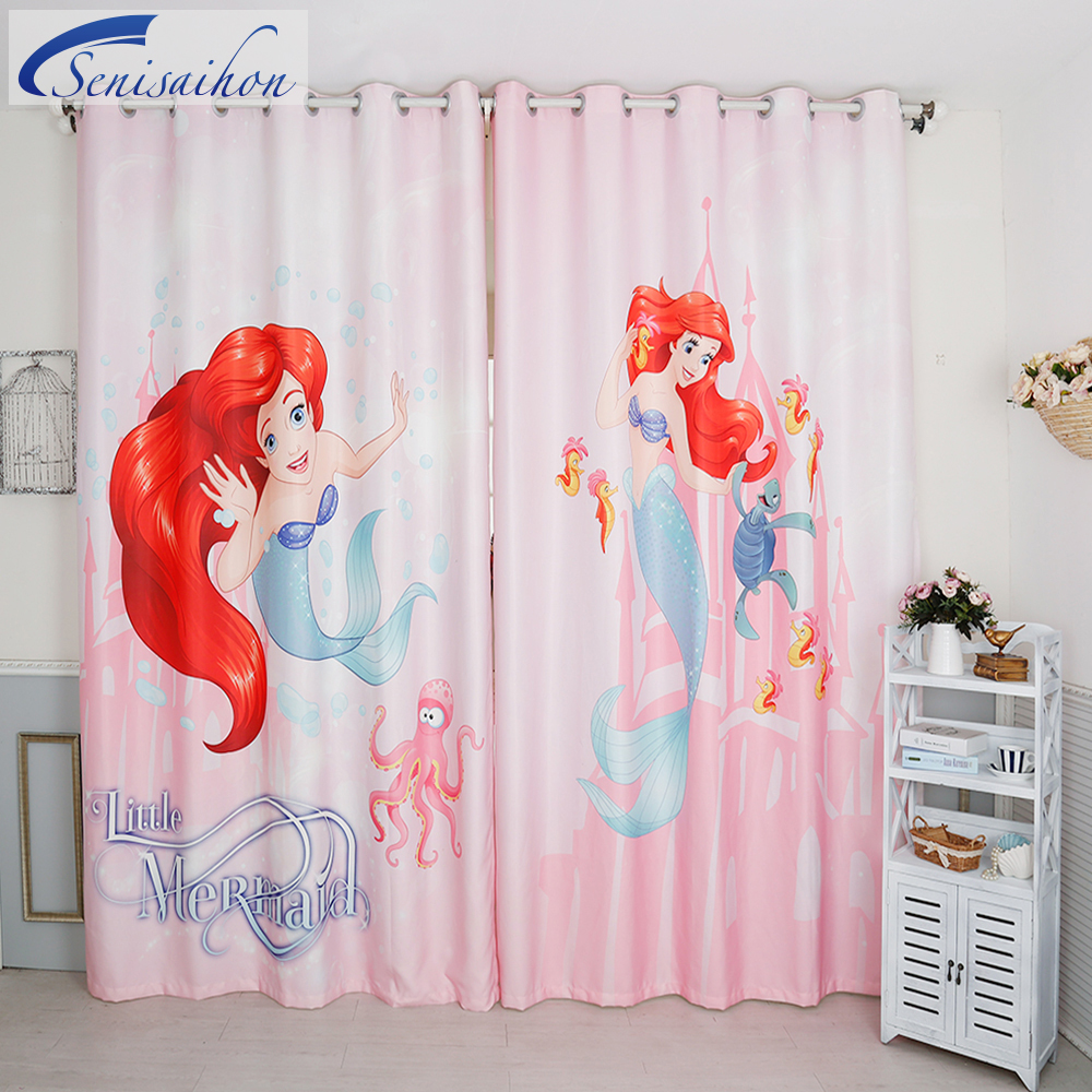 New 3D Blackout Curtains Cartoon Pink Little Mermaid Pattern Flannel Girl  Bedroom Curtain Window Tulle Curtains For Living Room