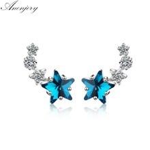 Anenjery 925 prata esterlina bonito azul cristal estrela brincos para mulher zircão oorbellen pendientes S-E767