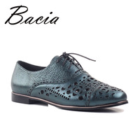 Bacia Fashion Casual Sheepskin Flats Dark Green Hollow Floral Shoes Spring Summer Handmade Women High Quality