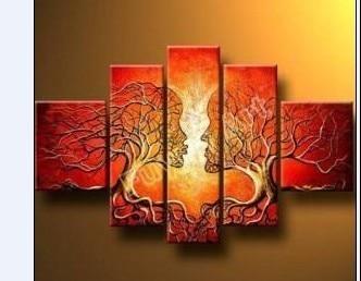 Ручная роспись картина без рамки любовники дерево высокий Q. Декор на стену пейзаж картина маслом на холсте 5 шт./компл