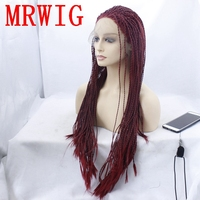 MRWIG havena twist braides synthetic wig burgundy hair color front lace wig 26inch 650g for african americans