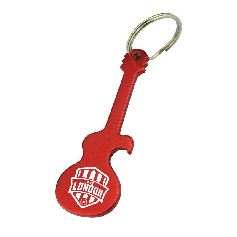 50x cadeau promotionnel article décapsuleur porte clés personnalisé gravé avec Logo d'entreprise, porte clés en métal décapsuleur en forme de guitare-in Ouvre from Maison & Animalerie    1