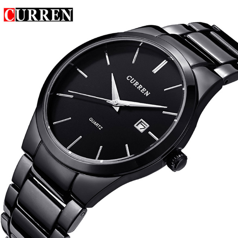 CURREN Quartz Watch Men Brand Military Wrist Watches MEN Full Steel Famous Business Men Watch Clock Waterproof Relogio Masculino men s watches curren fashion business quartz watch men sport full steel waterproof wristwatch male clock relogio masculino