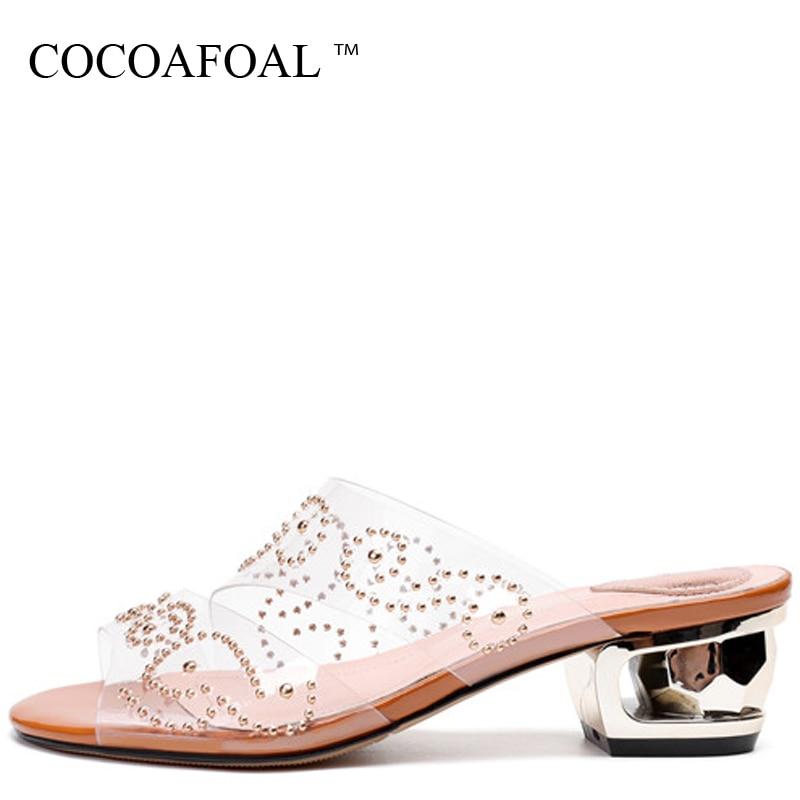 COCOAFOAL Womens Rivet Transparent Slides Black Brown Big Size 43 Summer Slippers Clear Heels Transparent Sandbeach Slides