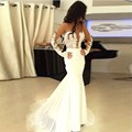 Sexy Sheer Back White Evening Dresses 2016 Lace Mermaid Long Evening Gowns O-neck Spaghetti Strap Floor Length Robe De Soiree