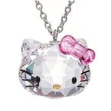 Marca de lujo de acero inoxidable cadena cristal Colgantes cute Hello Kitty CAT Collares joyería de moda para las mujeres