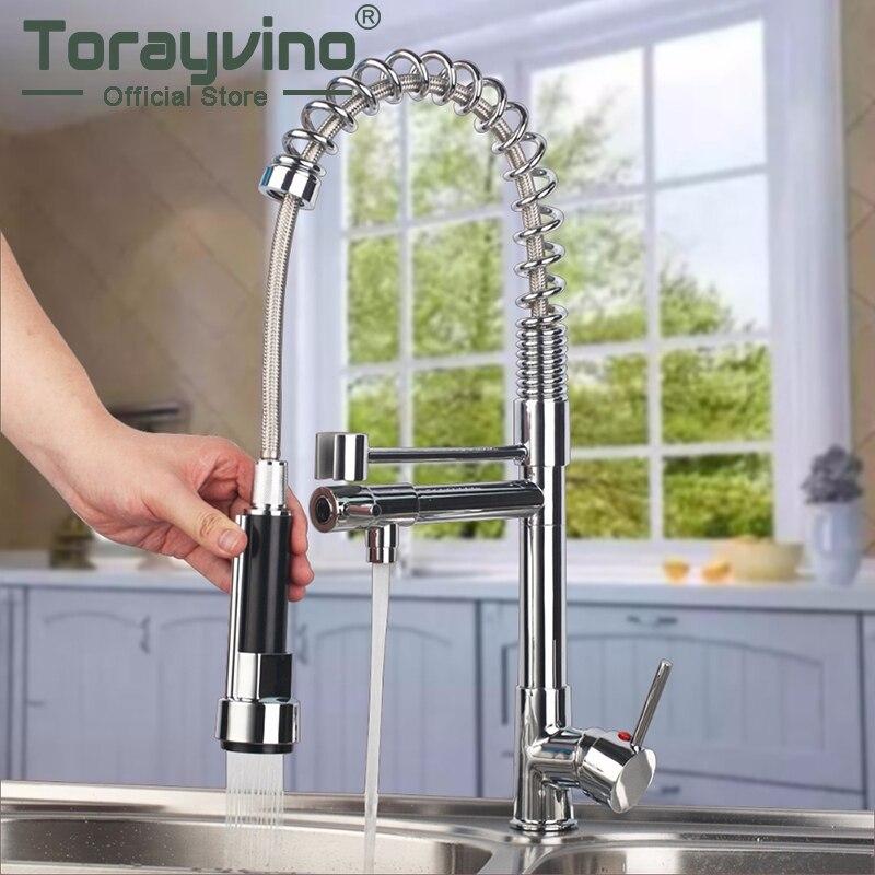 Torayvino 360 Swivel Double Faucets Polished Chrome Brass Kitchen Faucet 1 Handles Vessel Swivel Mixer Tap