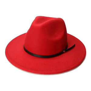 Image 5 - LUCKYLIANJI الرجعية طفل الطفل خمر 100% الصوف قبعة بحافة واسعة فيدورا بنما الجاز القبعة المستديرة حلقة من جلد أسود (54 سنتيمتر/تعديل)
