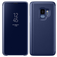 For SAMSUNG S9 Case With Original Chip Smart View Mirror Clear Flip Full Cover Stand Case