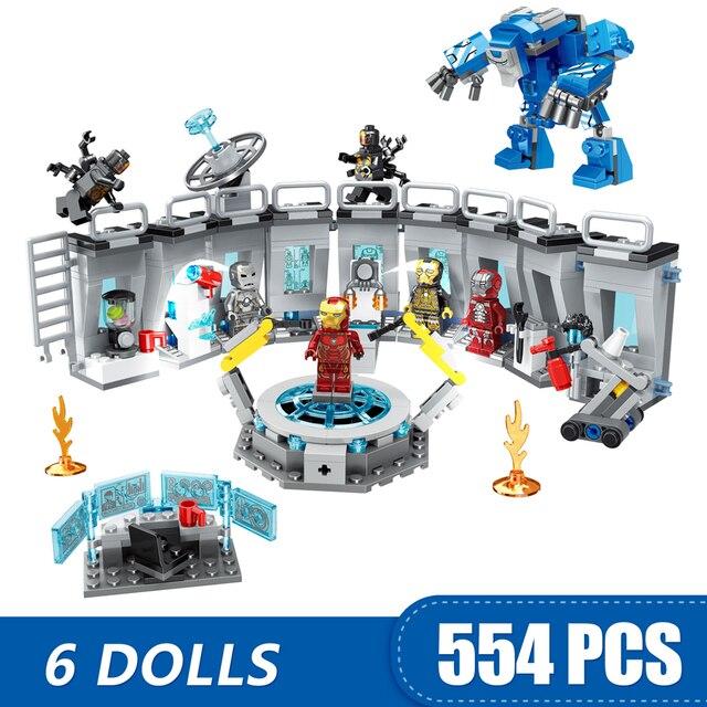 608 sztuk mały budynek klocki kompatybilny Lepinging Iron Man Hall of Armor Marvel superbohaterowie Avengers prezent dla dziewcząt chłopców