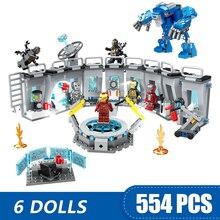 608PCS קטן אבני בניין צעצועי תואם Lepinging ברזל איש אולם של שריון מארוול סופר גיבורי נוקמי מתנה עבור בנות בני