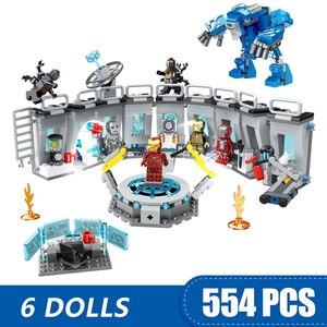 Image 1 - Blocos de construção compatíveis com 608 pçs, brinquedo de super heróis, vingadores, presente para meninas, homem de ferro, hall de armadura da marvel meninos