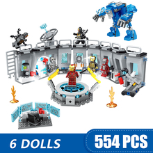 Figuras de acción de superhéroes de Marvel, Juguetes de bloques de construcción pequeños compatibles con leping, Iron Man, Salón de la armadura, regalo para niñas y niños, 608 Uds.