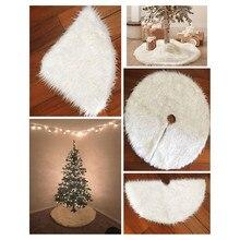 1pc White Plush Christmas Tree Skirts Fur Carpet Merry Christmas Decoration for Home Natal Natal New Year Decoration navidad цена 2017