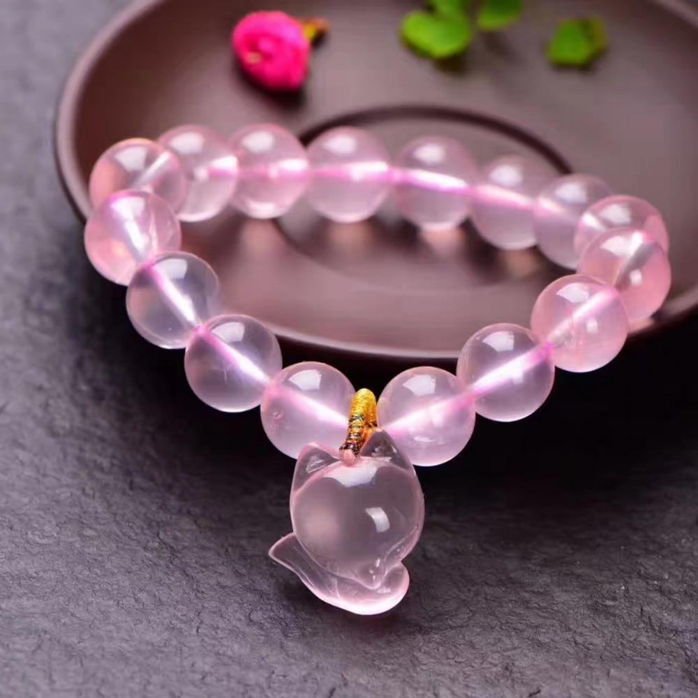 Véritable naturel Rose Quartz étoile lumière claire renard pendentif Mozambique cadeau perles Bracelet 9mm 10mm 11mm 12mm AAAAA livraison directe