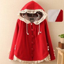 3  colors– Super thickening lacing hooded wool princess single breasted jacket mori girl outwear coat