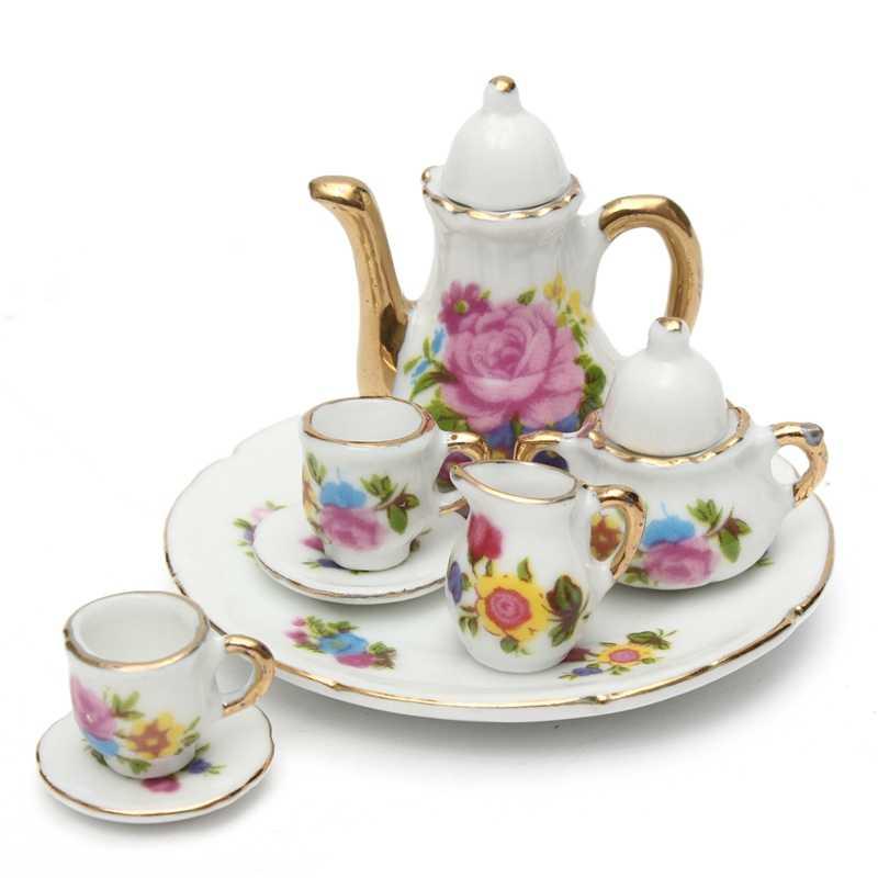 8pcs/set Doll House Miniature Dining Ware Porcelain Tea Set Dish Cup Plate Pink Rose Kit Mini Decor For Doll house Children Toys