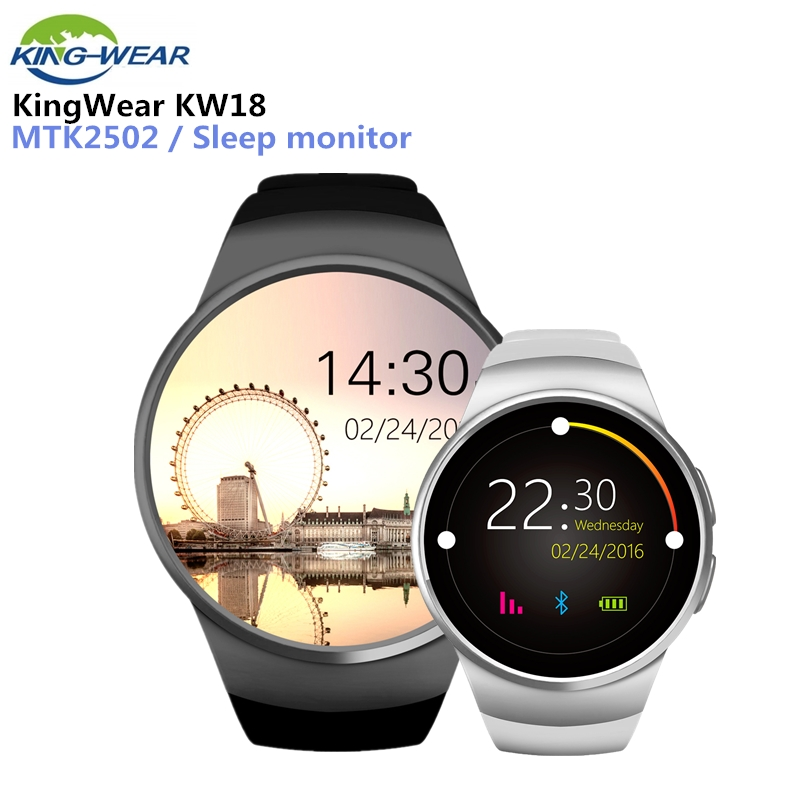 KingWear KW18 Bluetooth SmartWatch teléfono completo soporte de pantalla NANO SIM tarjeta inteligente reloj corazón tasa para IOS Android