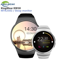KingWear KW18 Bluetooth SmartWatch Phone Full Screen Support NANO SIM Card Smart Watch Heart Rate For IOS Android