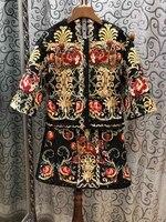В стиле ретро высокого качества принтом ромбы Куртки + мини юбки комплект из двух предметов 2018 осень взлетно посадочной полосы Винтаж Полов