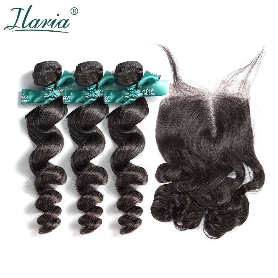 ILARIA HAIR Human Hair Bundles With Closure Loose Wave 100 Brazilian Virgin Hair Weave 3 Bundles