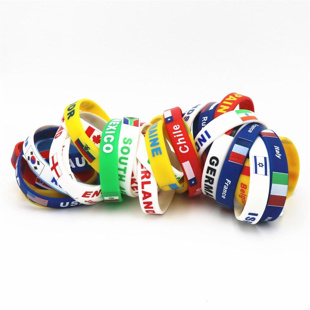 1 Pz Paese Del Mondo Bandiera Logo Sport Wristband Del Silicone Ventole Nazionale Di Calcio Di Gomma Elastica Bracciali E Braccialetti Regalo Del Ricordo Di Sh244 Giada Bianca