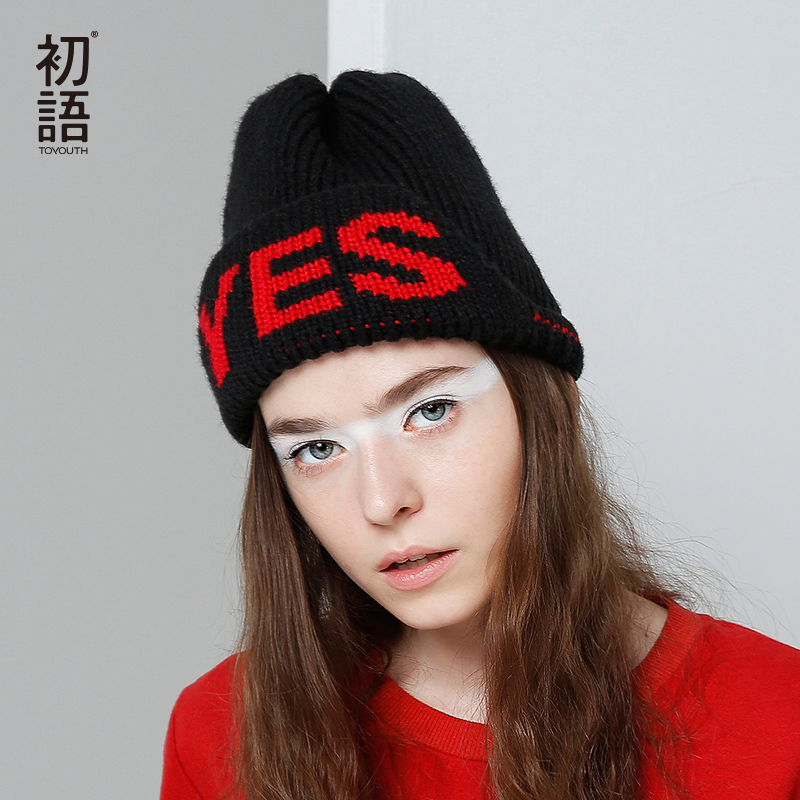 Toyouth Skullies Beanies 2017 Autumn Women Letters Jacquard Warm Thicken Knitted Hat Female skullies
