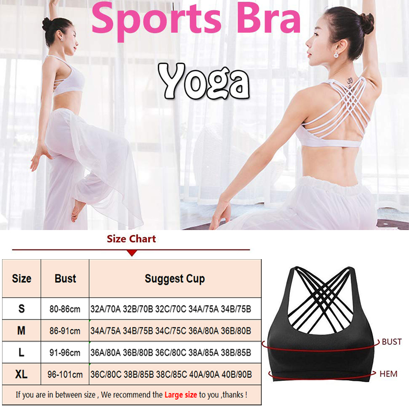 SEXYWG Sport Bra for Women Breathable Yoga Tops Pad Fitness Running Gym Sexy Crop Push Up Brassiere Cross Back Strap Sports Bras in Sports Bras from Sports Entertainment