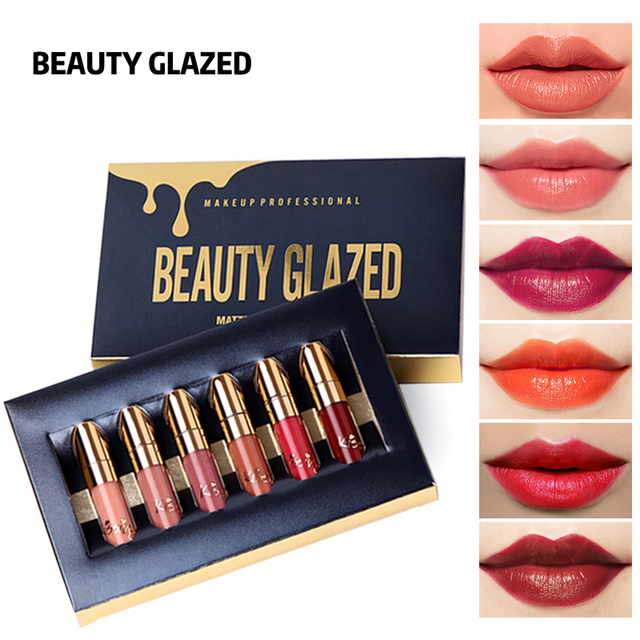 BEAUTY GLAZED 6 Colors Matte Lipstick Set Waterproof Long Lasting Lip Gloss Nude Velvet Pigment Batom
