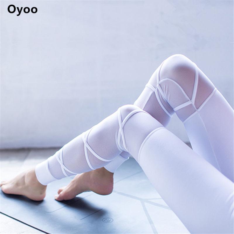 Oyoo Nylon Bianco Maglia Palestra Yoga Leggings Carino Cinghie Croce dea Fitess Legging Sexy Delle Donne Sportswear Carino danza pantaloni di yoga XL