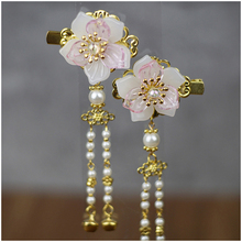 1 pc Vintage Cherry Blossom Tassel Antique Hair Clips Side Clip Hairpin Hanfu Chinese Traditional Headdress Handmade clip