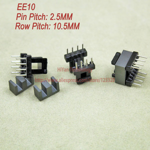 20sets/lot EE10 PC40 Ferrite Magnetic Core and 4 Pins + 4 Pins Side Entry Plastic Bobbin Customize Voltage Transformer