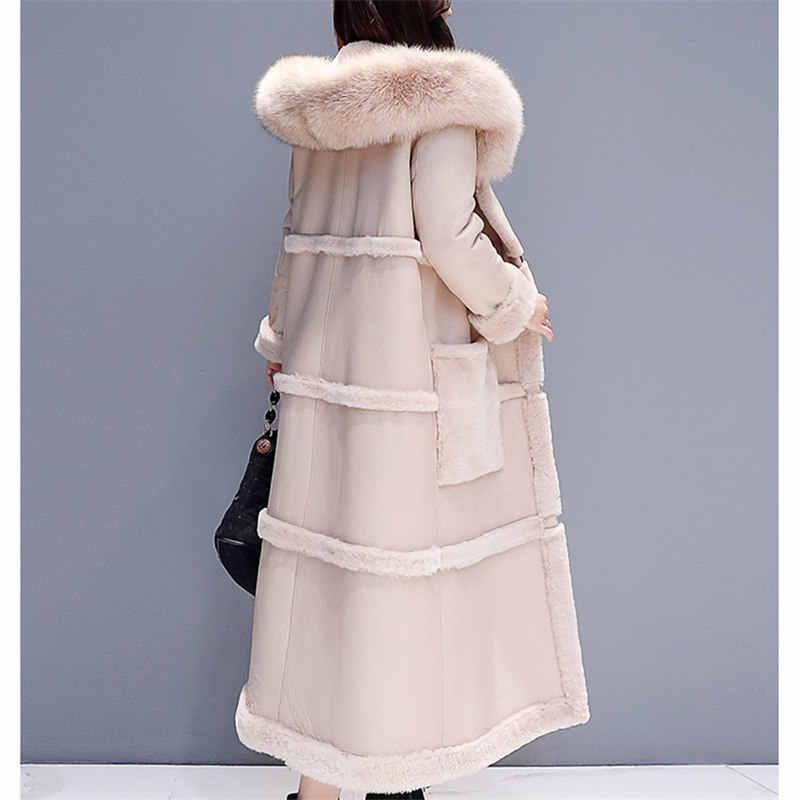 秋冬女性プラスサイズ韓国ビッグ毛皮の襟上膝フェイクレザー厚く暖かいロングコートエレガントな女性
