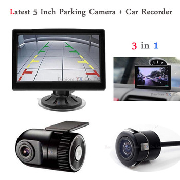 Car DVR Camera Dash Cam Hidden Car Monitor TFT LCD Car DVR Recorder with Vehicle Rear view camera Parking Assist Jalousie System