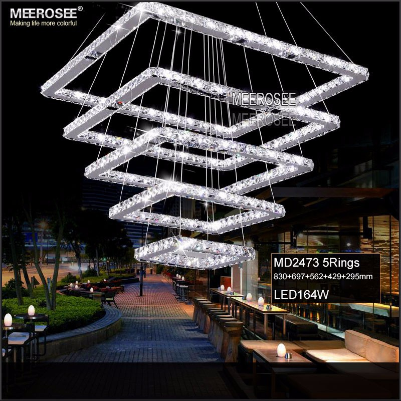 Square Crystal LED Pendant Light Fixture Rectangle Crystal Hanging Lamp Modern Crystal Stair Lighting for Hotel Hallway Villa|Pendant Lights| |  - title=