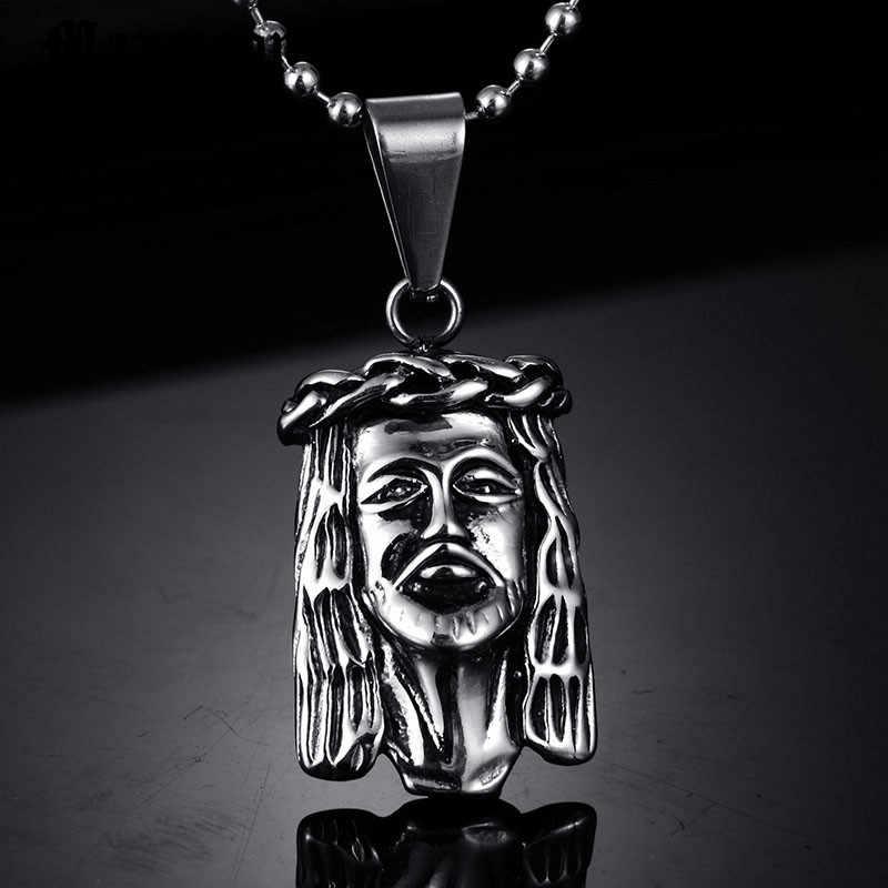 Maxmoon Jesucristo pieza cara de cabeza Hip Hop colgante collar Cadena de encanto para hombres y mujeres accesorios de vacaciones de moda