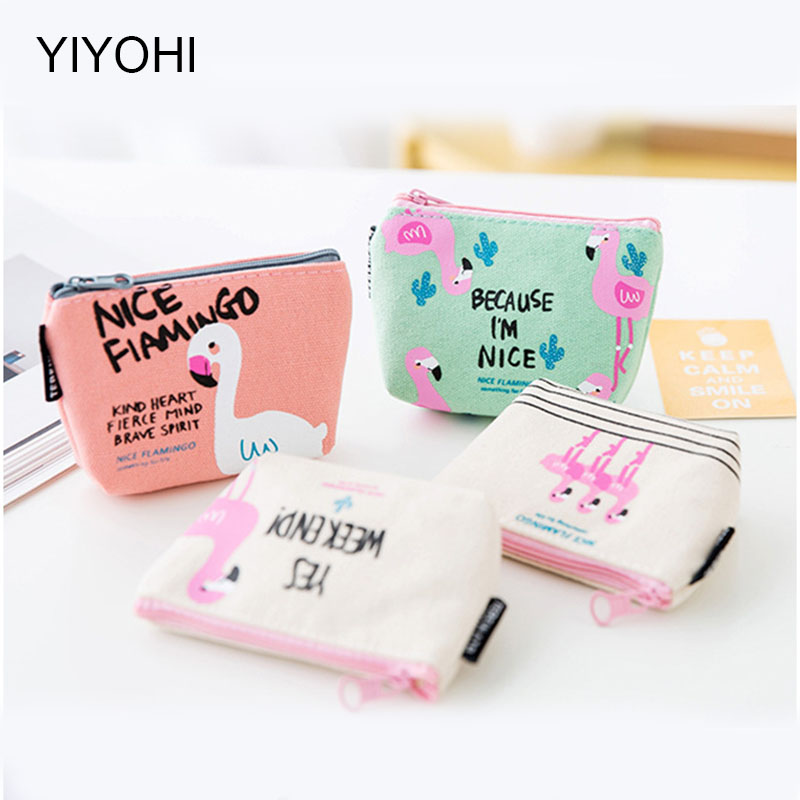 YIYOHI 2017 New cute flamingos canvas coin purses zipper zero wallet child girl boy women purse,lady coin bag key packet vintage paris coin purses packet nostalgia canvas coin bag
