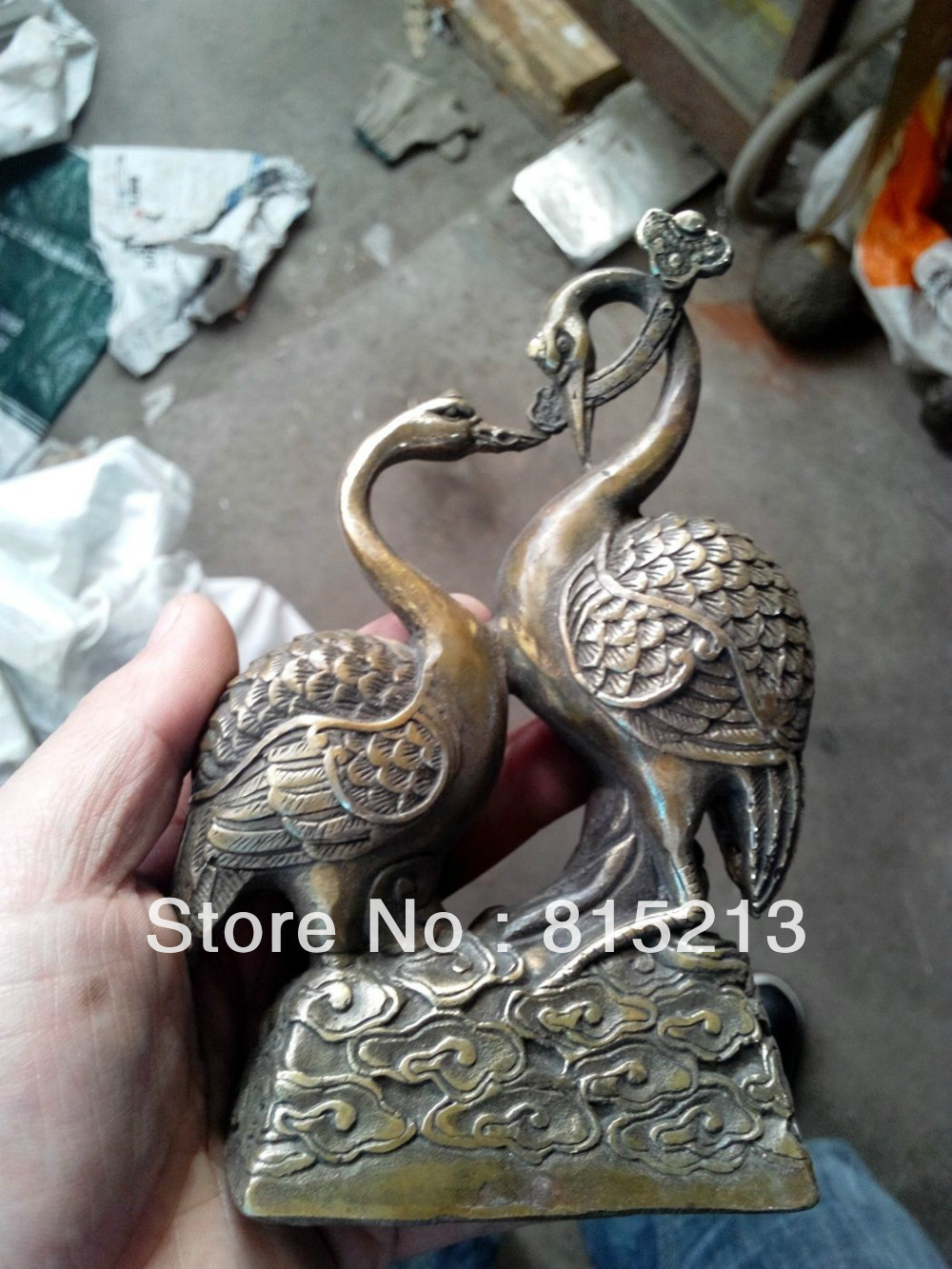 Bi00477 A Pair Of Chinese Hand Carved Red-crowned Crane Bronze Statue