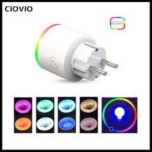 CIOVIO 16A EU RGB wifi Smart Plug with Power Monitor, wifi wireless Smart Socket Outlet with RGB