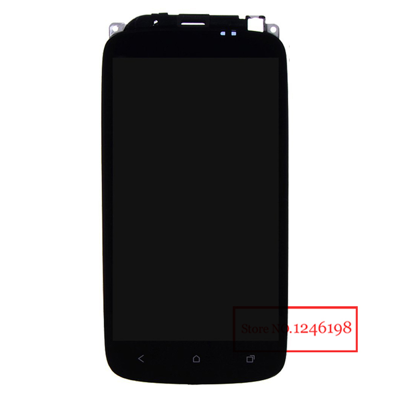 100% High Quality Full LCD Display Touch Screen Digitizer Assembly + Frame For HTC ONE S Z520e With LOGO Replacement high quality silver for htc one m7 lcd display touch digitizer screen frame back door battery cover case housing