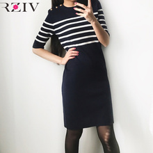 RZIV 2017 spring women sweater dress casual long slim sweater stripes decorative buttons in the shoulder