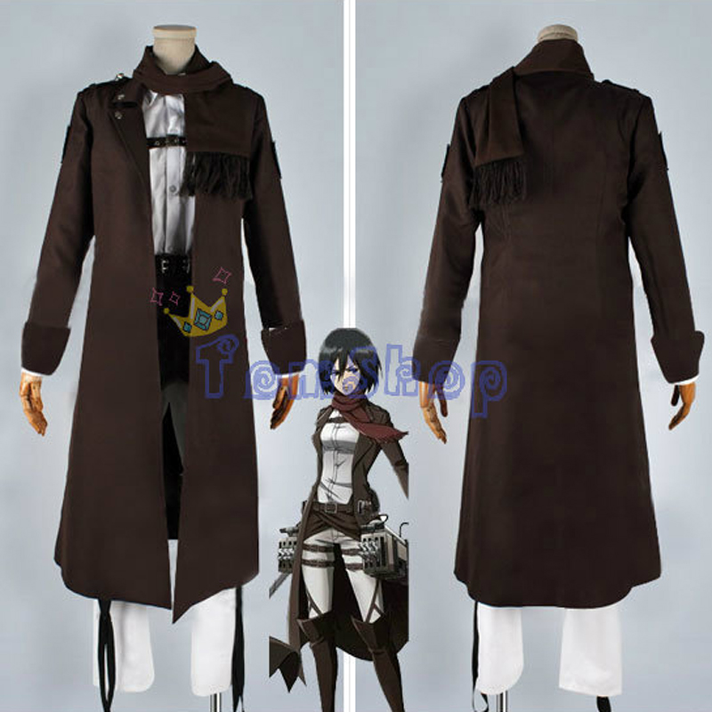 Attack on Titan: The Wings of Counterattack Mikasa Ackerman Full Set Cospaly Costume Long Brown Trench Coat Jacket