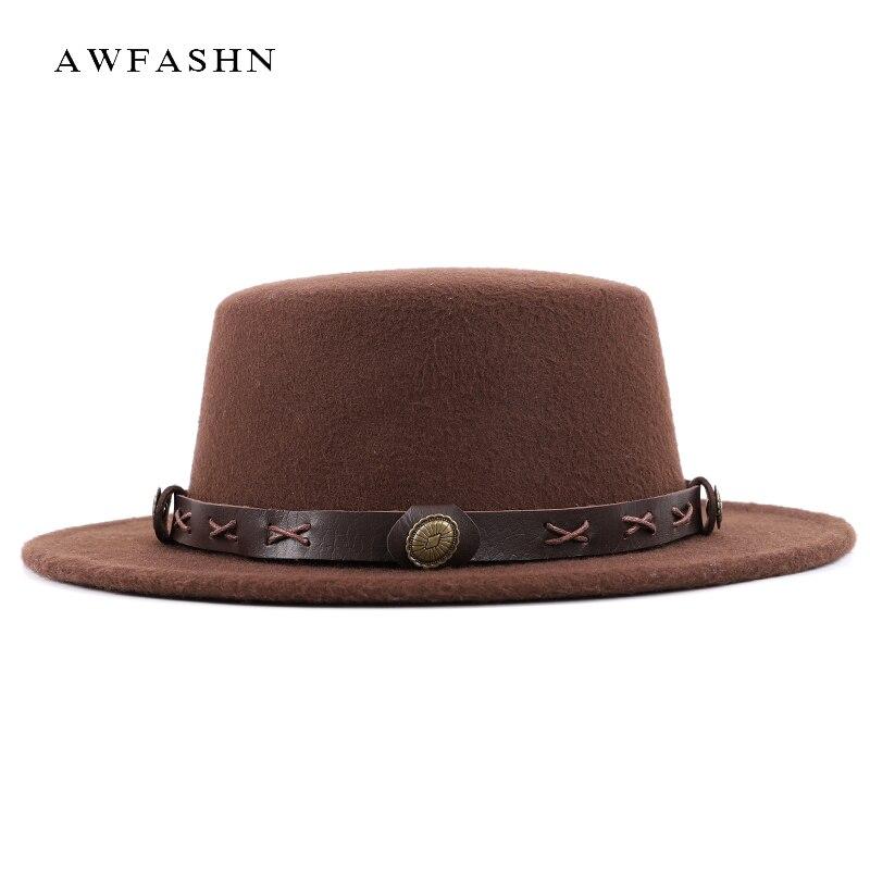 2018 New Fashion Ladie Wool Cylinder Fedora Autumn Winter Woman Man Wide  Brimmed Bowler Hat Vintage 5c2791650c8
