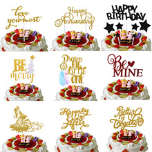 цена Happily Even After Be Mine Happy Birthday Cake Flags Wedding Cake Topper Be Merry Christmas Party Cake Decor Better Together онлайн в 2017 году