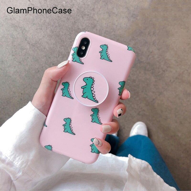 Glamphonecase rosa dinossauro caso de telefone para iphone xs max xs xr 8plus 7plus 6/6s plus capa traseira macia com suporte